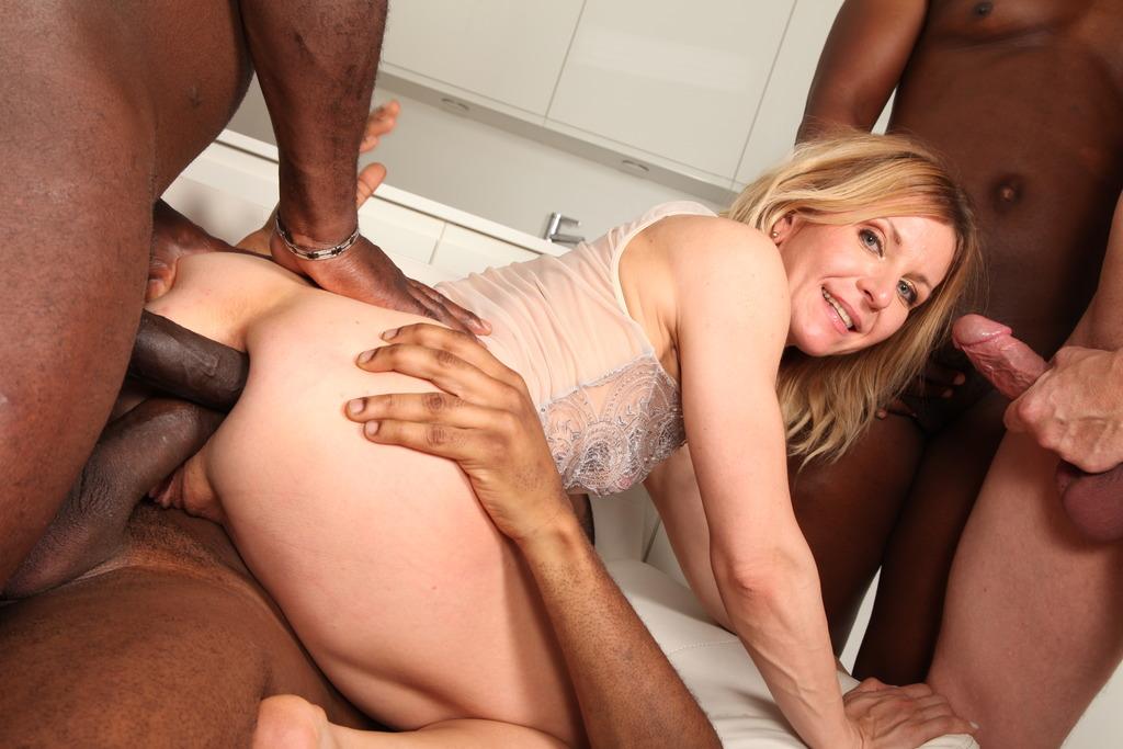 Blonde Female Nadia North Does Triple Penetration With Big Black Cocks Pink Fine Art 1